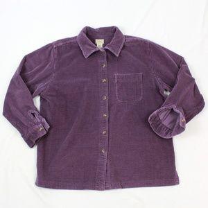 LL Bean Corduroy Button Up Womens Medium Size M Co